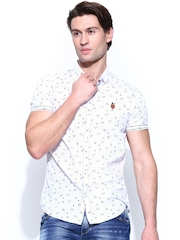 SPYKAR Men White Printed Casual Shirt
