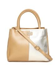 Satya Paul Brown & Muted Gold-Toned Leather Handbag