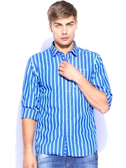 Scapes by TWILLS Men Blue Striped Slim Fit Casual Shirt