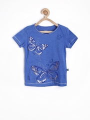 Bells and Whistles Girls Blue Printed T-shirt