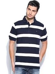 Tommy Hilfiger Men White & Navy Striped Polo T-shirt