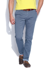 Tommy Hilfiger Men Blue Printed Hudson Straight Fit Chino Trousers