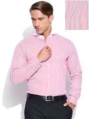 Wills Lifestyle Men Coral Red & White Striped Slim Fit Formal Shirt