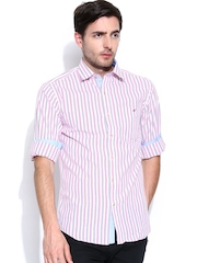 Wills Lifestyle Men White & Pink Striped Slim Fit Casual Shirt