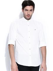 Wills Lifestyle Men White Slim Fit Casual Shirt