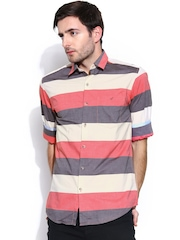 Wills Lifestyle Men Cream-Coloured & Coral Red Striped Slim Fit Casual Shirt