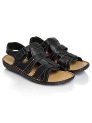 Louis Philippe Men Black Leather Sandals