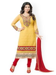 Khushali Yellow & Red Georgette Unstitched Dress Material