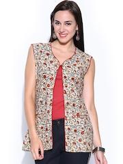 Anouk Women Beige & Maroon Kalamkari Printed Jacket