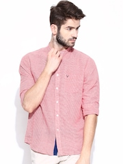 Allen Solly Men Red & White Sport Fit Semiformal Shirt
