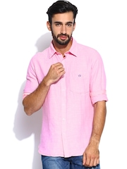 Van Heusen Sport Men Pink Linen Slim Fit Casual Shirt