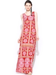 Global Desi Red Printed Maxi Dress