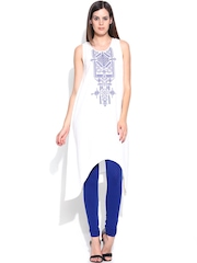 Global Desi Women White Printed A-Line Kurta