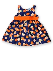 Be Born by Doodle Infant Girls Blue & Orange Printed Fit & Flare Dress