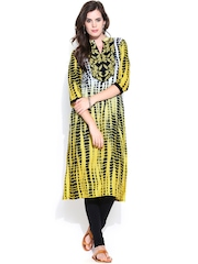 Shree Women Yellow & Black Printed Kurta