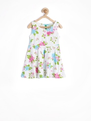 United Colors of Benetton Girls White Floral Printed Fit & Flare Dress