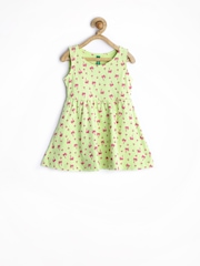 United Colors of Benetton Girls Lime Green Printed Fit & Flare Dress