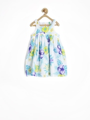 United Colors of Benetton Girls White Printed A-line Dress