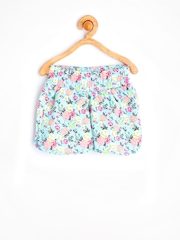 United Colors of Benetton Girls Turquoise Blue Printed Shorts