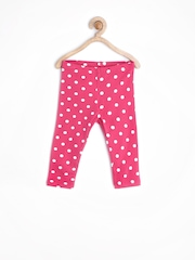 United Colors of Benetton Girls Pink Polka Dot Printed Leggings