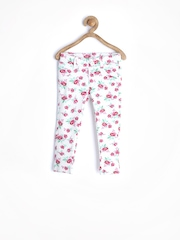 United Colors of Benetton Girls Off-White Floral Printed Jeggings
