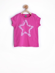 United Colors of Benetton Girls Pink Printed T-shirt