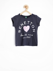 United Colors of Benetton Girls Navy Printed T-shirt