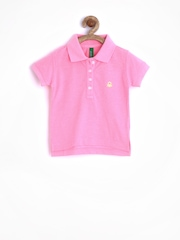 United Colors of Benetton Girls Pink Polo T-shirt