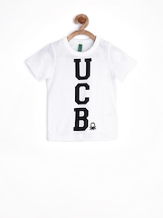 United Colors of Benetton Boys White Printed T-shirt