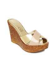 Catwalk Women Gold-Toned & Nude-Coloured Wedges