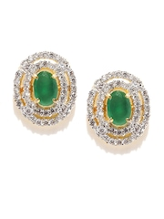 Zaveri Pearls Green Stud Earrings