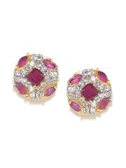 Zaveri Pearls Pink & Silver-Toned Stud Earrings