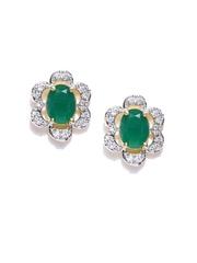 Zaveri Pearls Green & Silver-Toned Stud Earrings
