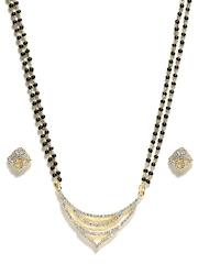 Zaveri Pearls Gold-Toned & Black Mangalsutra & Earrings Set