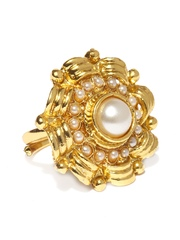 Zaveri Pearls Gold-Toned & White Ring