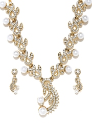 Zaveri Pearls Gold-Toned & Off-White Jewellery Set