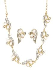 Zaveri Pearls Off-White & Gold-Toned Jewellery Set