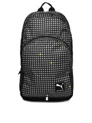 PUMA Unisex Black & Grey Checked Academy Backpack