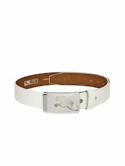 PUMA Men White Leather Highlight Fitted Belt