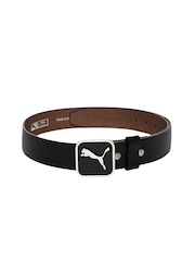 PUMA Men Black Leather Square Fitted Belt