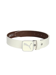 PUMA Men White Leather Square Fitted Belt