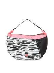 PUMA Black & White Avenue Hobo Printed Handbag