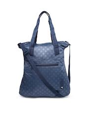 PUMA Women Blue Printed Dazzle Shopper Bag