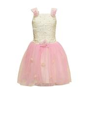 Priyank Girls Off-White & Pink Fit & Flare Dress