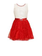 Priyank Girls White & Red Fit & Flare Dress