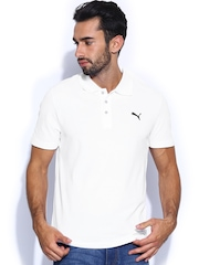 PUMA Men White ESS Polo T-shirt