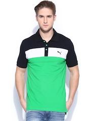 PUMA Men Green & Navy Polo T-shirt