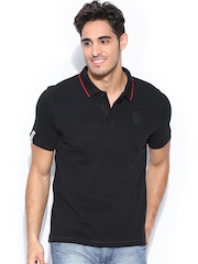 PUMA Men Black Ferrari Polo T-shirt