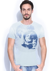 Pepe Jeans Men Blue Printed Slim Fit Astro T-shirt