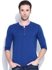 United Colors of Benetton Men Blue Henley T-shirt